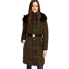 Phase Eight - Dark olive brisa long side stitch puffer