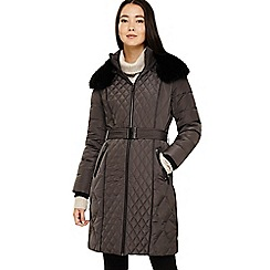 Phase Eight - Grey davina long mixed diamond coat