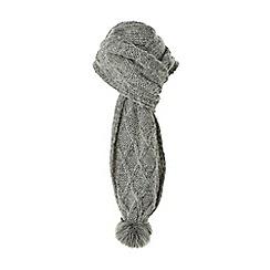 Dune - Grey 'Larchie' knitted pom pom trim scarf