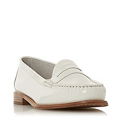 Dune - White Leather 'Glossy' Block Heel Loafers