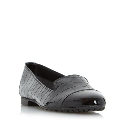 Dune - Black 'Genevieve' toecap detail slipper cut flat shoe
