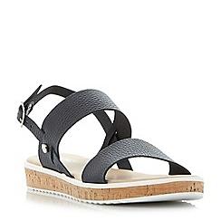 Dune - Navy 'Logo' cork sole flatform sandals
