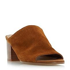 Dune - Tan 'Jupita' unlined block heel mule sandals