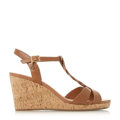 Dune - Tan leather 'Koala' high wedge heel t-bar sandals