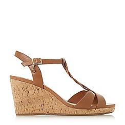 Dune - Tan leather 'Koala' high wedge heel t-bar sandals
