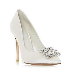 Dune - Ivory 'Breanna' jewelled square brooch pointed toe court shoe