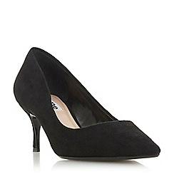 Dune - Black suede 'Astal' mid kitten heel court shoes