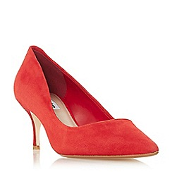 Dune - Red suede 'Astal' mid kitten heel court shoes