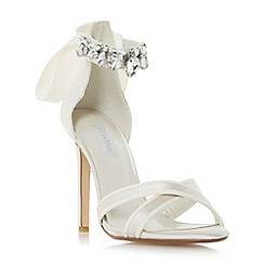 Dune - Ivory 'Morgen' jewel ankle strap high heel sandal