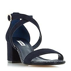 Dune - Navy 'Montie' cross strap block heel sandals