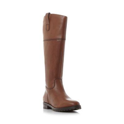 Dune - Dark tan 'Timi' side tab leather riding boots