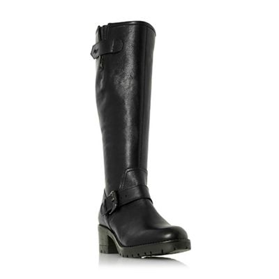 Dune   Black Leather 'tilburn' Block Heel Knee High Boots by Dune