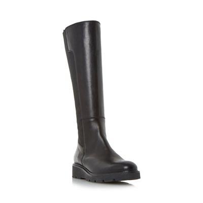 Dune - Black 'Tula' elasticated insert flatform knee high boot