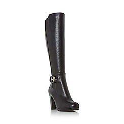 Dune - Black 'Scout' buckle detail knee high boots