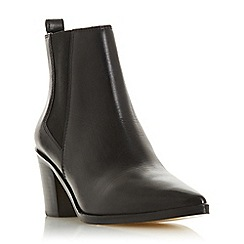 Dune - Black Leather 'Permit' Mid Block Heel Chelsea Boots