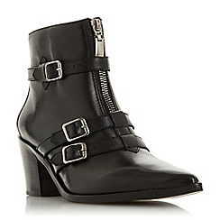 Dune - Black Leather 'Princely' Mid Block Heel Ankle Boots