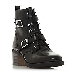 Dune - Black leather 'Paxtone' mid block heel ankle boots