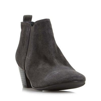 Dune - Grey 'Perdy' block heel ankle boot