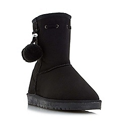 Head Over Heels by Dune - Black 'Rozz' warm lined pom pom ankle boot