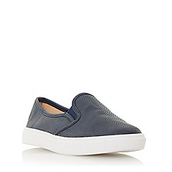 Head Over Heels by Dune - Navy 'Elsa' round toe slip on trainers