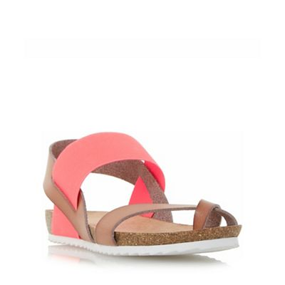 Head Over Heels by Dune - Dark peach 'Laury' elasticated strap flat sandals