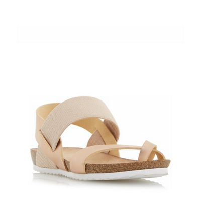 Head Over Heels by Dune - Rose 'Laury' elasticated strap flat sandals