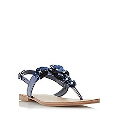 Head Over Heels by Dune - Navy 'Nadiaa' floral embellished toe post flat sandals