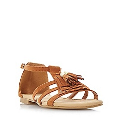 Head Over Heels by Dune - Tan 'Lylaa' tassel and fringe detail flat sandals