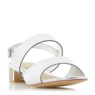 Head Over Over Over Heels by Dune - Silver 'Navilla' metallic insert block heel sandals 6c0377