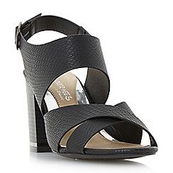 Head Over Heels by Dune - Black 'Jaya' stack heel cross strap sandals