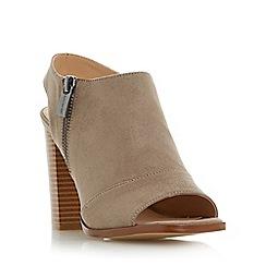 Head Over Heels by Dune - Taupe 'Jessica' peep toe block heel sandals