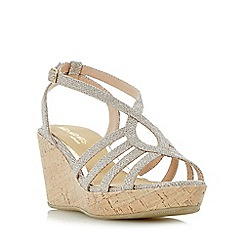 Head Over Heels by Dune - Gold 'Kimmi' strappy wedge sandals