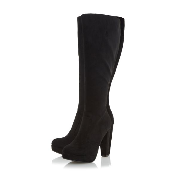 knee by Over Black 'Sonni' Head boot Heels platform Dune high TOq0q