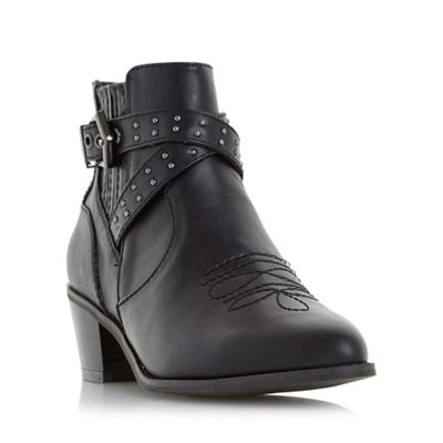 Head Over Heels by Dune - Black 'Paxx' buckle detail western ankle boot