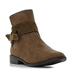 Head Over Heels by Dune - Green 'Pariah' wrap around bow ankle boot