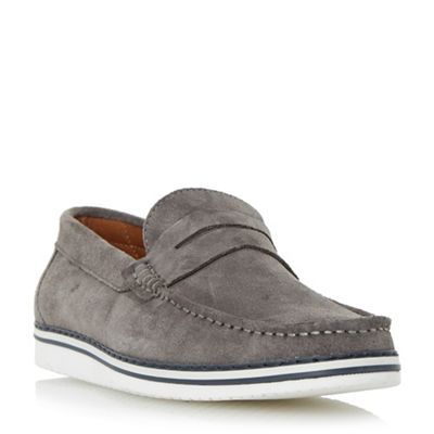 Dune - Grey 'Brightling' wedge sole suede penny loafer