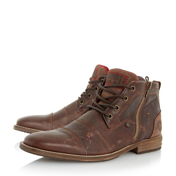 'Captains' boots leather toe Dune detail cap Brown double B05OHqw8x