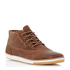 Dune - Tan 'Scooby' perforated high top leather trainer