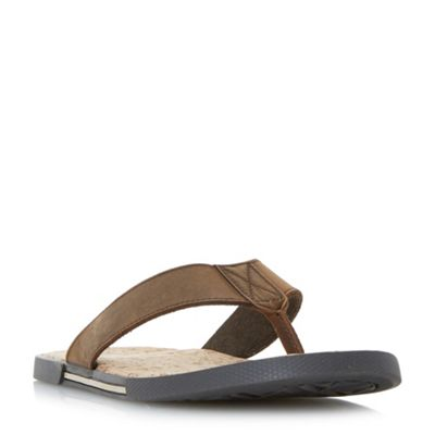 Dune - Brown 'Indie' cork footbed toepost sandals