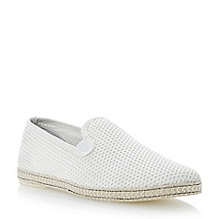 Dune - Off white 'Fence' mesh slip on espadrille shoes