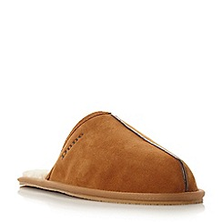 Dune - Tan 'Flintoff' faux fur-lined suede mule slippers