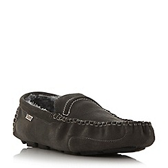 Dune - Grey 'Freddie' faux fur-lined suede driver slippers