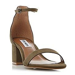 Steve Madden - Khaki leather 'Irenee' mid block heel ankle strap sandals