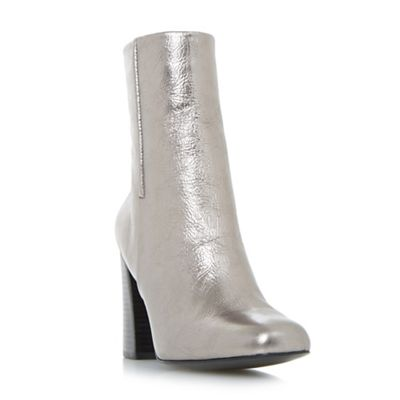 Dune - Silver 'Osmond' flared heel ankle boot