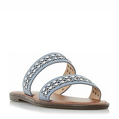 Head Over Heels by Dune - Blue 'Luminosa' embellished double strap flat sandals