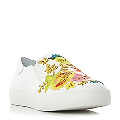 Dune - White 'Espyy' embroidered slip on shoes