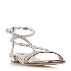 Dune - Silver 'Miss' asymmetric strap flat sandals