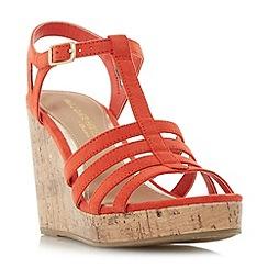Head Over Heels by Dune - Orange 'Keeli' t-bar cork wedge sandals