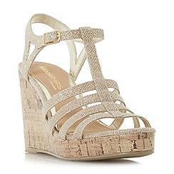 Head Over Heels by Dune - Gold 'Keeli' t-bar cork wedge sandals