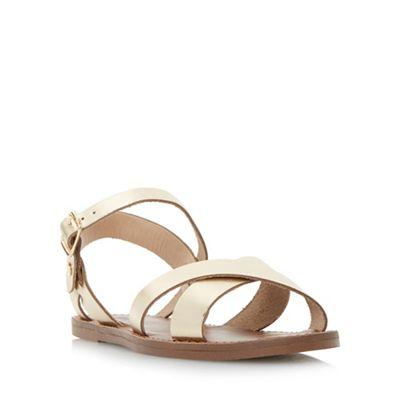 Dune - Gold 'Laila' cross vamp flat sandals